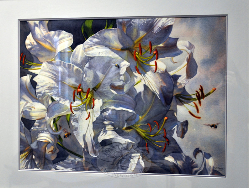 """Linda Thomas earned The Richard Ochs Award/Watercolor for this work, """"Casablanca Lilies,"""" during this year's Society of Creative Arts of Newtown, Inc. Spring Juried Show & Sale. (Hallabeck photo)"""