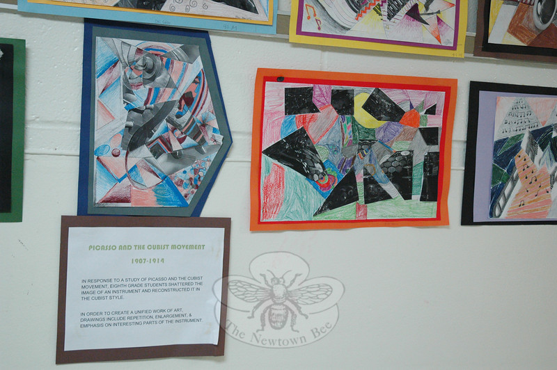 Eighth grade NMS students created these images after studying Pablo Picasso and the Cubist movement. (Hallabeck photo)