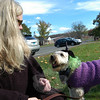 """Janice Butler and her dog Bailey attended the Saturday, October 26, """"Howl-o-ween"""" event held to benefit Newtown Park and Bark. (Hallabeck photo)"""