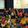 Across the school district on Monday, November 11, students marked Veterans Day in different ways. Head O' Meadow Elementary School, Sandy Hook Elementary School, and Middle Gate Elementary School held breakfast events for visiting veterans, while Newtown High School offered a luncheon. Head O' Meadow, Sandy Hook School, Middle Gate, and Newtown High School also held assemblies for students to learn more about Veterans Day from veterans and to honor those in attendance who have served the country. Hawley Elementary School, Reed Intermediate School, and Newtown Middle School left the choice of how to mark the day up to individual classes or clusters. (Hallabeck photo)