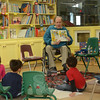 Newtown resident Ray Sipherd, who wrote for the Sesame Street television program for 17 years, was the first person to serve as a storyteller at the Children's Adventure Center's new program, Sandy Hook Bookworms.  (Gorosko photo)