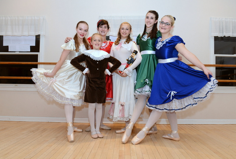 From left are performers Lizzy Delp, Taegan Smith, Emma Shaeridan, Katerina Ringes with the nutcracker, Jerusha Wright, and Tallie Nikitchyuki. Newtown Center of Classical Ballet will return to Edmond Town Hall to participate in this year's Holiday Festival, which will take place on Sunday, December 1. Additional events will be within the former town hall building, at C.H. Booth Library, and along Main Street with the addition of narrated trolley tours. The event is a fundraiser for Newtown Youth & Family Services.   (Bobowick photo)