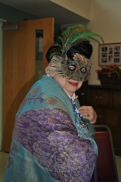Members of the Newtown Senior Center looked so good in their Halloween Costumes on October 31 it was scary. The seniors celebrated at their annual Halloween Bingo party. Witches and zombies were represented, but it was all about peacocks for Luella Swyer, pictured, whose, shirt, shawl, jewelry, and mask were all peacock-themed. Members enjoyed refreshments and prizes, along with games of Bingo. (Crevier photo)