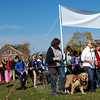 Walkers and therapy/comfort dogs in one of the two loops set up for the Charlotte's Litter Therapy/Comfort Dog Walk-A-Thon hosted by Newtown Kindness last Saturday, November 2. (Hallabeck photo)