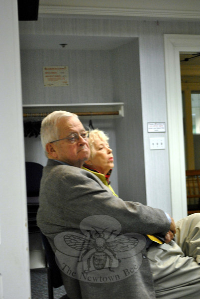 Library Board of Trustees Emeriti Judge William Lavery and Mary Thomas listen as the board discusses a variety of issues at the October 8 meeting of the Board of Trustees. During public participation, Judge Lavery registered his opinions regarding the hiring process of the former library director Shawn Fields and the board's decision to not hire an acting library director at this time. (Crevier photo)