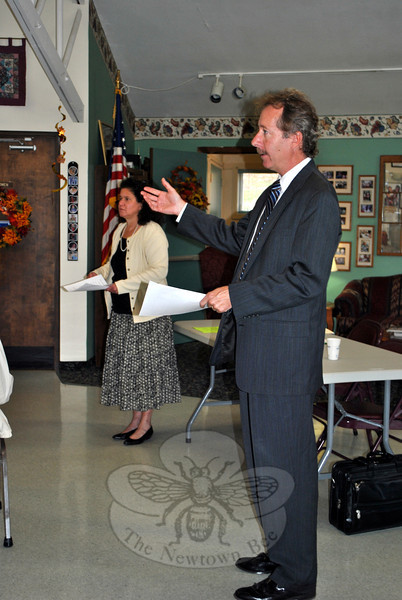 Elder Law attorneys Michele F. and Thomas E. Murphy, of Murphy & Murphy LLP in Danbury, address members and friends of the Newtown Senior Center, Wednesday, October 9. (Crevier photo)