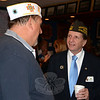"Newtown VFW Commander Jaime Rebman, left, chats with VFW National Commander William ""Bill"" Thien during a breakfast and visit to the local Post on October 12. The national commander was also joined by Post members, from left, Mr Rebman, Ray Wisniewski, Walter Dolan, and Brendan Dlouhy. Mr Thien was in Connecticut to honor State Commander Robert Frolich, and made stops at four of the 122 state posts including Newtown's during the course of the day. (Voket photo)"