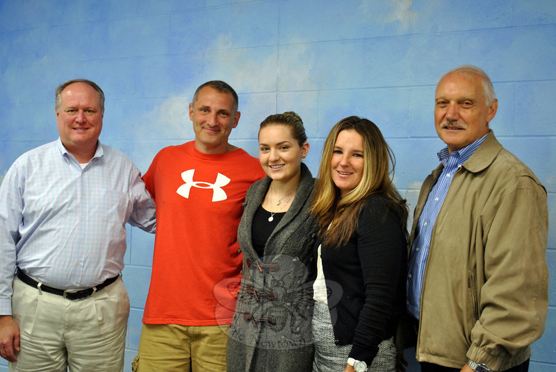 """From left are NYA """"Play it Forward: Moving Through the Music"""" Gala event organizers and staff members Terry Sagedy, Cody Foss, Marissa O'Loughlin, Kristin Scianna, and NYA Founder Peter D'Amico, who are hoping area residents will support the October 26 fundraiser. (Crevier photo)"""