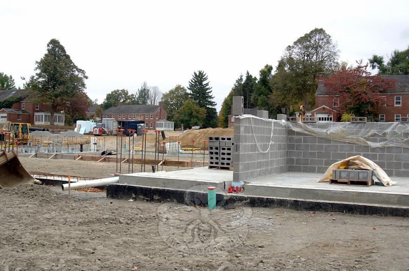 Concrete blocks show the beginning of walls that will give shape to the new ambulance facility going in at Fairfield Hills. Once in place, the walls will be finished in brick. (Bobowick photo)