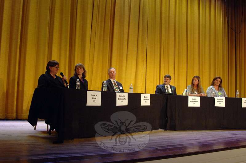 The Newtown Bee hosted a Board of Education Candidates Forum on Tuesday, October 22, at Edmond Town Hall. From left to right are Democrat Laura Main, Democrat Michelle Embree Ku, Republican David Freedman, Republican and incumbent school board member Keith Alexander, Republican and incumbent BOE Secretary Kathryn Hamilton, and Republican and incumbent BOE Chair Debbie Leidlein. (Bobowick photo)