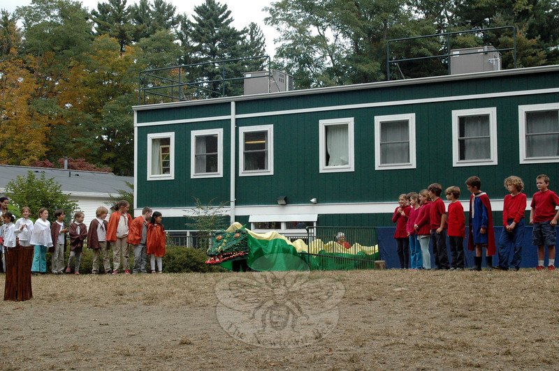 Housatonic Valley Waldorf School students hosted its annual Michaelmas Festival on Friday, Sep-tember 27, which included a play with a dragon, brought to life by third grade students. (Silber photo)