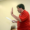 Resident Richard English of Curry Drive told Police Commission members on September 3 about traffic problems in the town center and urged that various measures be taken to improve public safety. (Gorosko photo)