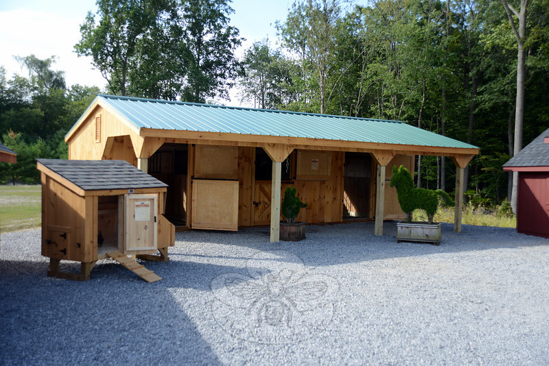 The newly opened Barn Yard just over the Newtown/Bethel boarder on Stony Hill Road offers a wide variety of sheds and outbuildings, including custom-made patio covers, paddocks, coops, sheds, screen houses, gazebos, and even outhouses. (Bobowick photo)