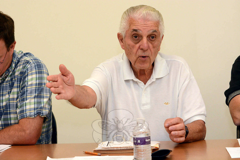 Police Commission Chairman Paul Mangiafico makes a point at a September 3 commission session in discussing the safety hazards posed by motorists who violate traffic laws. (Gorosko photo)