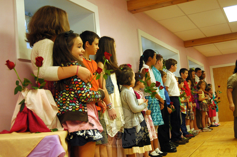 Housatonic Valley Waldorf School seventh graders stood with first graders on the first day of school on Wednesday, September 4, during a Rose Ceremony to welcome the future Housatonic Valley Waldorf School Class of 2021. (Hallabeck photo)