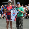 Ride 2 Recovery Founder and President John Wordin presented a jersey that had been signed by many of the participating riders to Steve Stohl. Mr Stohl, an engineer for Sandy Hook Volunteer Fire & Rescue, accepted the gift on behalf of the fire company. (Hicks photo)