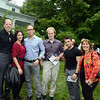 Friends and Baxter family members enjoyed the mild September evening at George and Shane Miller's house at 50 Main Street Saturday, September 7, for the annual Mozart, Merlot & Mums fundraiser. From left are Dave Baxter, Maria Baxter, Greg Baxter, Adam Baxter, Kostas Hakzikostas, and Joanne Baxter. (Bobowick photo)