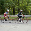 A pair of cyclists with the Ride 2 Recovery approach the town line in Sandy Hook on Tuesday. (Hicks photo)