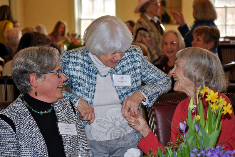 From left is Kim Proctor, Beryl Harrison and Sydney Eddison, sharing a laugh during the luncheon honoring the 60th Anniversary of the Garden Club of Newtown, April 1 at Rock Ridge Country Club. (Crevier photo)