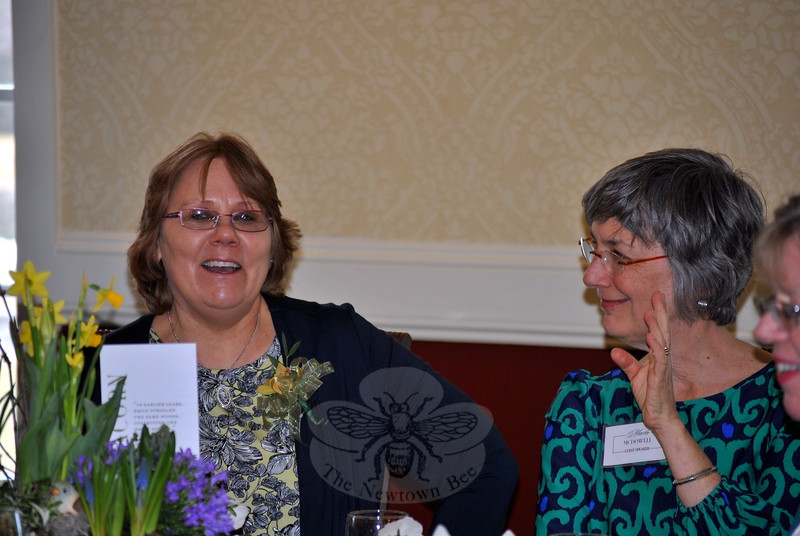 Garden Club of Newtown President Holly Kocet, left, and author Marta McDowell, keynote speaker at the anniversary celebration, enjoy each other's company, Wednesday afternoon. (Crevier photo)