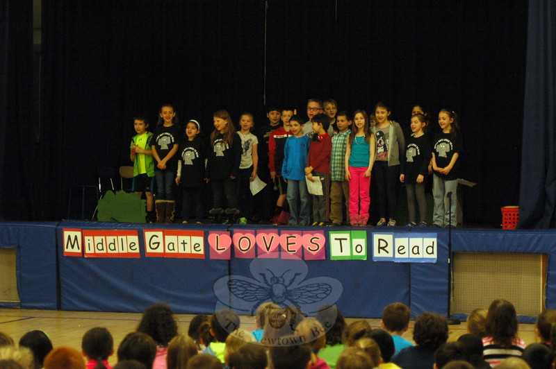Third grade students in Claire DeSisto's class acted out a skit on Monday, April 6. The skit was prepared to kick-off Middle Gate Loves To Read Week. (Hallabeck photo)