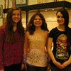 Newtown Middle School students, from left, eighth grader Ashley Solomon, seventh grader Julie Hess, and eighth grader Stephanie Cobb stood together on Thursday, April 9, after being recognized by the Board of Education on Tuesday, April 7, for earning awards in the state level of the PTA-sponsored Reflections Program. (Hallabeck photo)
