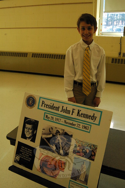 Connor Smith said he felt he had some things in common with President John F. Kennedy, like both having connections to Boston, and that made him want to study the president for his project. (Hallabeck photo)