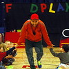 "Giordan Diaz, who played the part of Coach, introduced himself to Middle Gate Elementary School students on Wednesday, April 8, at the start of ""FoodPlay,"" a theater show about eating healthy and being active, presented by Chartwells K12 School Dining Services and FoodPlay Productions. (Hal-labeck photo)"