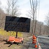 As Route 34 brings traffic close to the Monroe town border past Bradley Lane and Jordan Hill Road, drivers will see a large sign indicating that the section of road that sits on the Stevenson Dam, which is roughly one mile ahead, will be closed briefly in May. The hydroelectric plant powered by the dam is scheduled to receive maintenance. The bridge over the dam will be closed from 6 am Saturday, May 2, through 12 am May 5. (Bobowick photo)