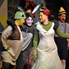 From left, Newtown Middle School students Jackson Mittleman, Will Crebbin, and Emma Stierle, played the parts of Shrek, Donkey, and Fiona, respectively, during a showing of the school's production of Shrek The Musical Jr on Thursday, March 26. (Hallabeck photo)
