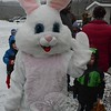 Although it was a cold, snowy day, a smiling Easter Bunny, all six furry feet of him, showed up the Parks and Recreation Department's annual Spring Egg Hunt on Saturday, March 28, at Dickinson Park. The mirthful bunny gave gifts of candy to those who attended. (Gorosko photo)