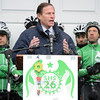 Members of Newtown's Team 26 cycling team did not let the early spring snow and cold deter them from their mission of bringing attention to gun violence issues to the nation's capital. They were joined on the steps of Edmond Town Hall on Saturday, March 28, for a sendoff ceremony by more than 150 supporters, who wished them well as they departed on their four-day, 400-mile trip to Washington, DC, Saturday, March 28. (Gorosko photo)