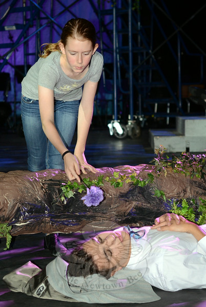 Jane Shearin as Puck, runs through a scene from A Rockin' Midsummer Night's Dream with cast member Joe Verga, who plays Lysander in one of two casts of the world premiere musical. (Voket photo)