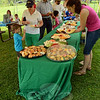 The approximately 250 people attending the dedication ceremonies for FunSpace II at Dickinson Park helped themselves to an array of tasty pastries, fruits, and vegetables. (Gorosko photo)