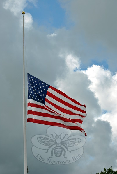 The flag flew at half staff this week to honor the memory of Julia Wasserman. Mrs Wasserman, who served family, town, state, and country in many capacities, died August 18. (Crevier photo)