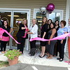 Town officials were busy August 12 attending three brief ribbon cutting events. First Selectman Pat Llodra, Economic Development Coordinator Betsy Paynter, along with Economic Development Commissioner Matt Mihalcik, met owners and staff at Pink Soda Blow Dry Bar, The Sheep Shoppe, and Wise Learning, Specialized Tutoring Center. Pink Soda at 224 South Main Street welcomed, from left, Mr Mihalcik, staffer Abby Swartz, owner Wendy Brown, Mrs Llodra, manager Tiffany Mingachos, staff members Rose O'Shaughnessy, Makayla Mann, and Kristal Heredia, and supporters Stephanie Schneiderman and Gail Vogel. (Bobowick photo)