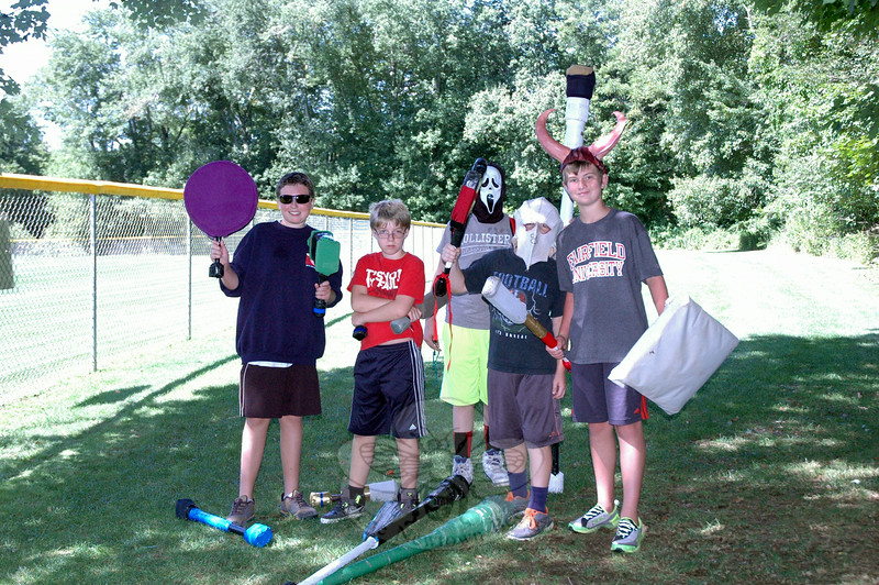 A group of campers posed for a photo between role playing at Camp Dagorhir on Thursday, August 14. (Hallabeck photo)