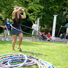 Swinging one of the many hula hoops she brought the enjoyment of all ages during the Choose Love Concert Series on Saturday was Janet Maurice, co-founder of Trumbull-based My Circle Of Love. (Bobowick photo)