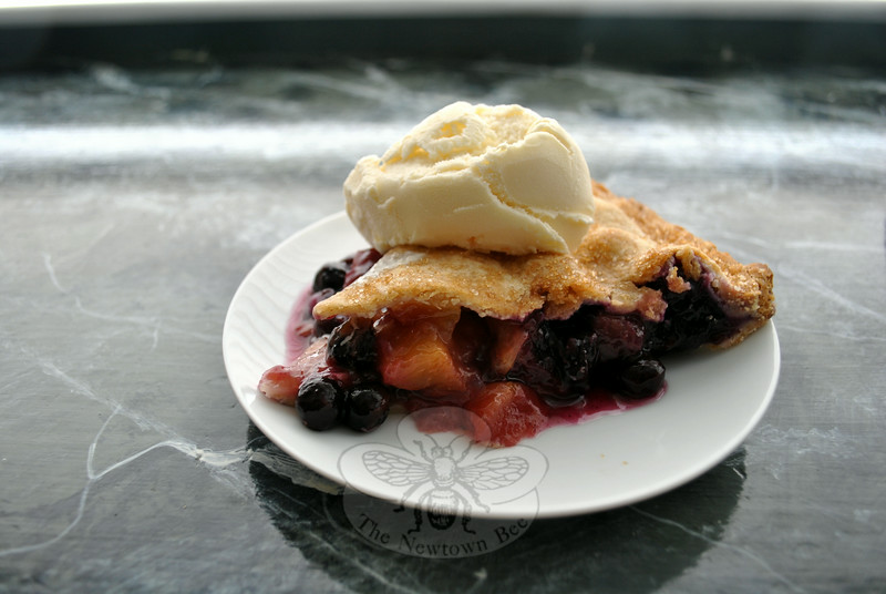 Pie perfection is found in the pure flavors of fruits now in season. Peach and blueberry pie is just one use of the area's bounty. (Crevier photo)