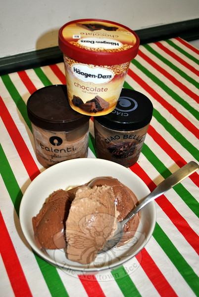 A recent sampling by Newtown Bee staff of eight frozen chocolate desserts, available in local markets, found Haagen-Dazs ice cream to be top dog for flavor, density, and creaminess. Talenti double chocolate gelato and dark chocolate sorbetto by Ciao Bella were more than satisfactory, proving that for Bee tasters, at least, high milkfat content and intense flavor are winners when selecting among the hundreds of options available. (Crevier photo)