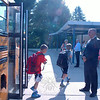 Superintendent of Schools Joseph V. Erardi, Jr, greeted students at Middle Gate Elementary School on the first day of school. (Hallabeck photo)