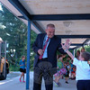 At one of his stops through the school district on Tuesday, August 26, the first day of the 2014-15 school year, Superintendent of Schools Joseph V. Erardi, Jr, greeted Middle Gate Elementary School students as they arrived off the bus. (Hallabeck photo)