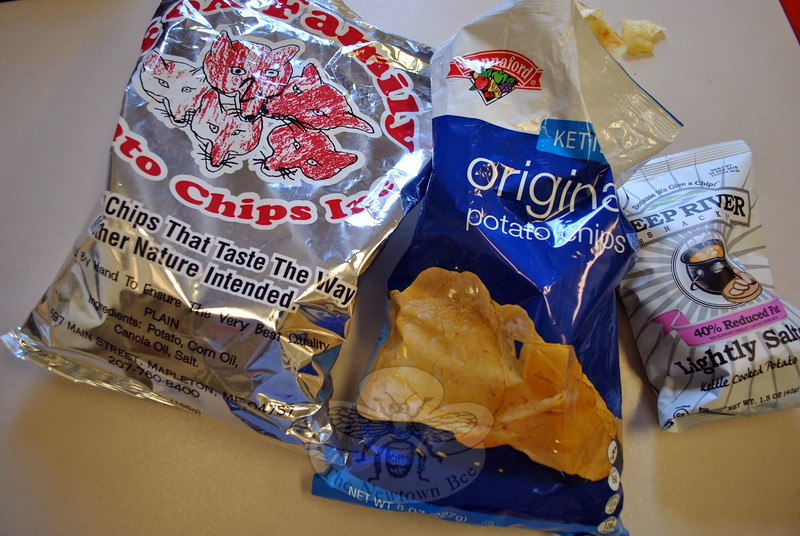 Careful consideration and serious snacking by a team of expert potato chip tasters on the staff of The Newtown Bee led to the conclusion that Hannaford brand potato chips, from Maine, were the tastiest of the six New England chips sampled. Fox Family Farm, also of Maine, and Deep River, from Connecti-cut, placed second and third. (Crevier photo)