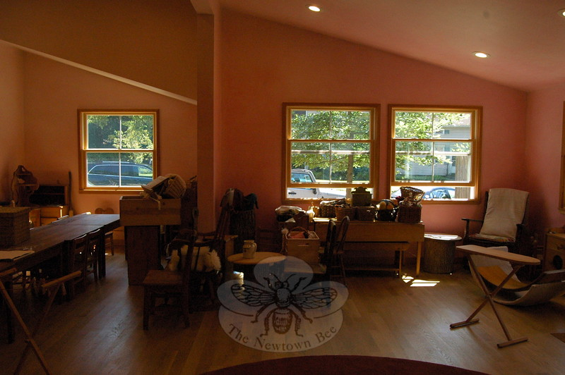 A room in Housatonic Valley Waldorf School's Rose Garden building was painted in the lazure fashion by artist Robert Logsdon. By Friday, August 14, the walls were still drying and furniture was waiting to be moved into place for the start of the 2015-16 school year.  (Hallabeck photo)