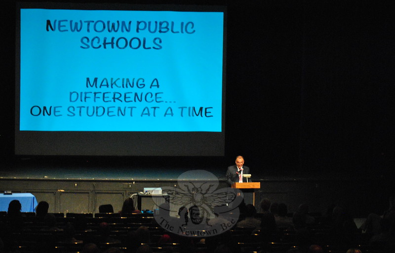 Superintendent of Schools Erardi speaking during the August 24 convocation for the 2015-16 school year. (Hallabeck photo)