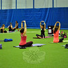 Instructor Amie Meleshkewich led one group of 2015 Newtown Yoga Festival participants on Satur-day, August 22, at NYA Sports & Fitness Center. (Hallabeck photo)