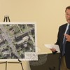 Michael Galante, a traffic engineer, on August 4 explained to Police Commission members the scope of a planned traffic study of the Main Street flagpole intersection. The intersection has the second-highest local accident rate. The aerial photo at left is an overhead view of the five-legged intersection.  (Bee Photo, Gorosko)