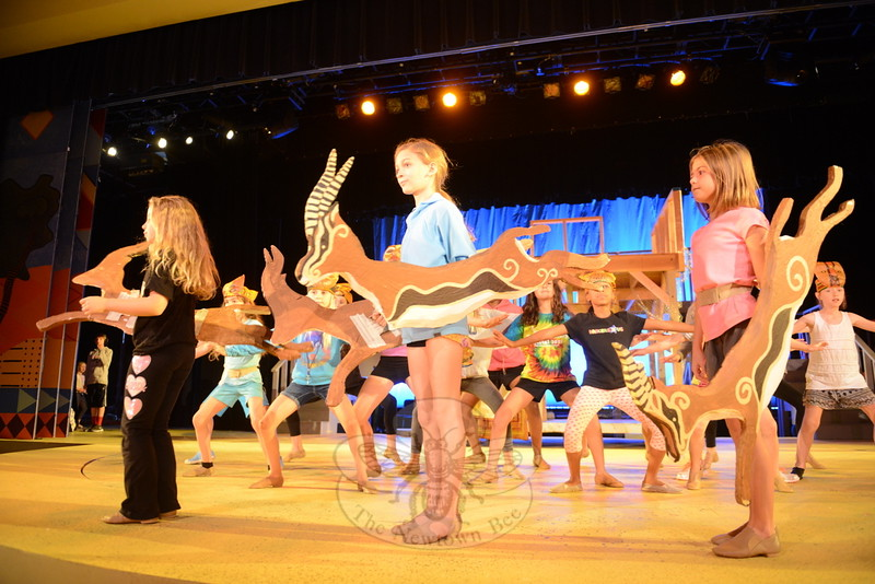 Young gazelles rehearse romping across the African plains as the NewArts production of Disney's The Lion King, Jr readies for its August 6 opening with two casts comprising about 130 local actors, dancers and singers.  (Bee Photo, Bobowick)