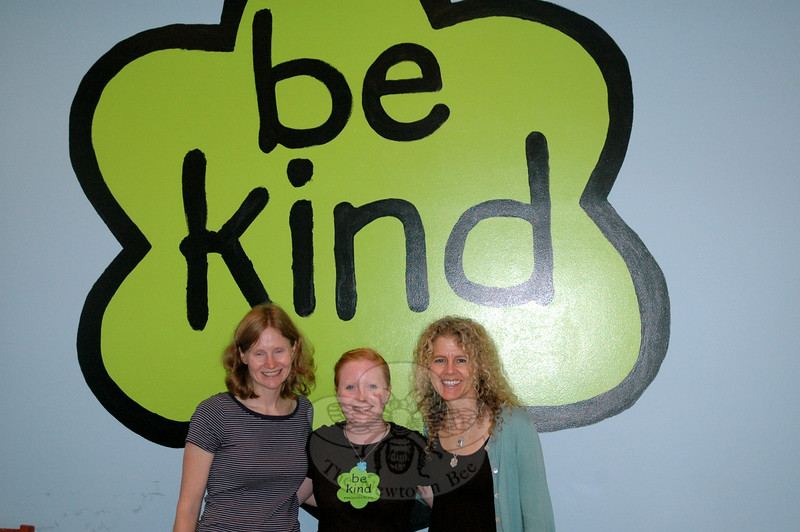 Beth Krueger, left, Sam Siess, and Jeanette Maré, founder and executive director of the Ben's Bells Project, shared the simple message emanating from the Ben's Bells Newtown studio at 17 Church Hill Road. (Gaston photo)