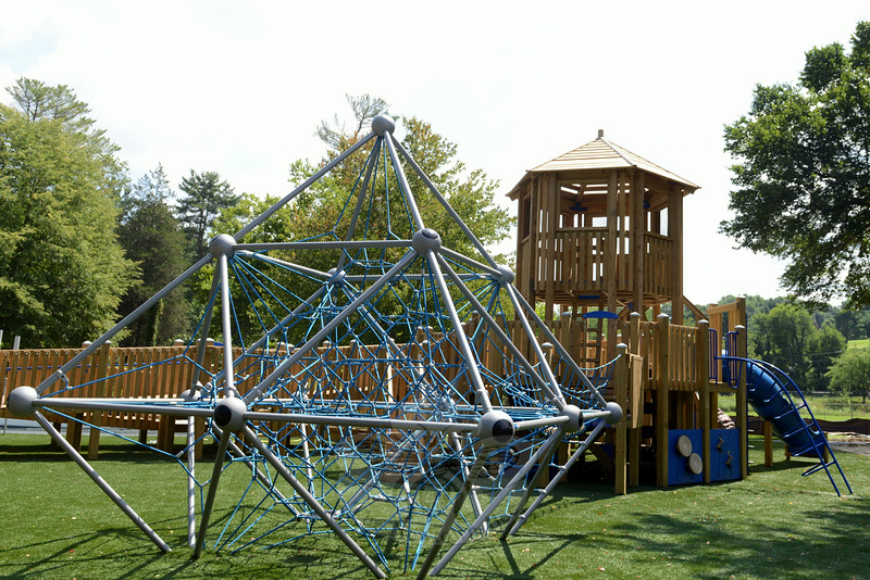 Among the new FunSpace II playground equipment is a rope climbing feature. It sits in a turfed area surrounded by shaded walkways. (Bobowick photo)